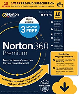 EXCLUSIVE Norton 360 Premium – Antivirus software for 10 Devices with Auto Renewal - 15 Month Subscription - 3 Months FREE - Includes VPN, PC Cloud Backup & Dark Web Monitoring powered by LifeLock [PC/Mac/Mobile Download]