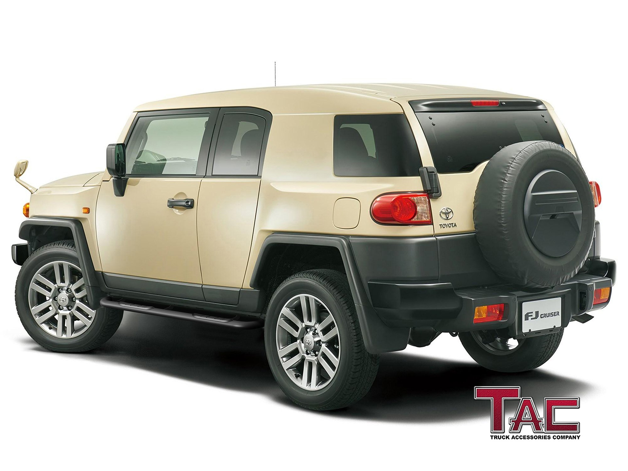 """TAC Side Steps for 2007-2014 Toyota FJ Cruiser SUV (Excludes models with the factory rock rails) 3"""" Black Side Bar Nerf Bars Running Boards"""