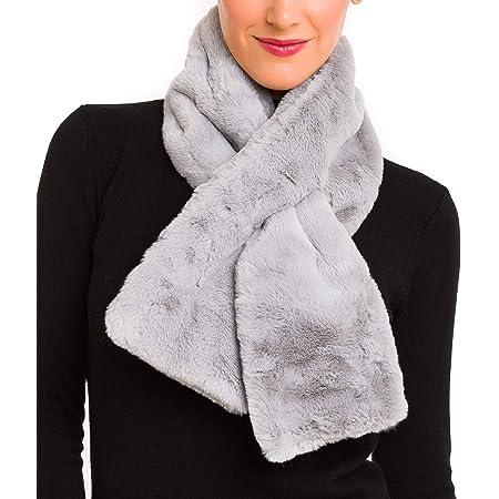 Details about  /Elegant Winter Warm Faux Rabbit Fur Hair Scarfs Headband Silk Twill Skinny Long