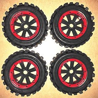 HONG YI-HAT Tire wheel + rim tyre 4 pcs for RCMK XCR-1200 1000 900 1200se スペアパーツ (Color : Red)