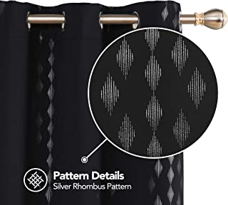 Deconovo Insulated Bedroom Curtains Thermal Insulated Foil Printed Short Drapes and Curtains for Living Room 42x63 Inch Black 2 Panels