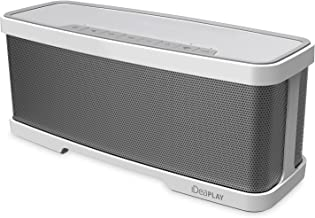 iDeaUSA Wireless 2.1 Channel Bluetooth Speaker with Stereo 2x 5W Drivers Dual Passive Radiators and 1x 10W Subwoofer, 2 Mode Equalizers, Portable with Built-in Microphone - Silver