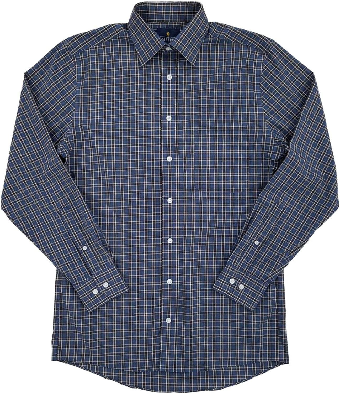 Mens Stretch Broadcloth Brown Indigo Plaid Long Sleeve Dress Shirt