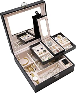 ProCase Jewelry Box Organizer, Large Capacity Portable Travel Jewelry Case 2 Layer Jewelry Display Versatile Storage Case ...
