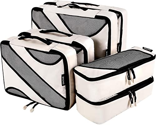Bagail 6 Set Packing Cubes,3 Various Sizes Travel Luggage Packing Organizers (Beige)