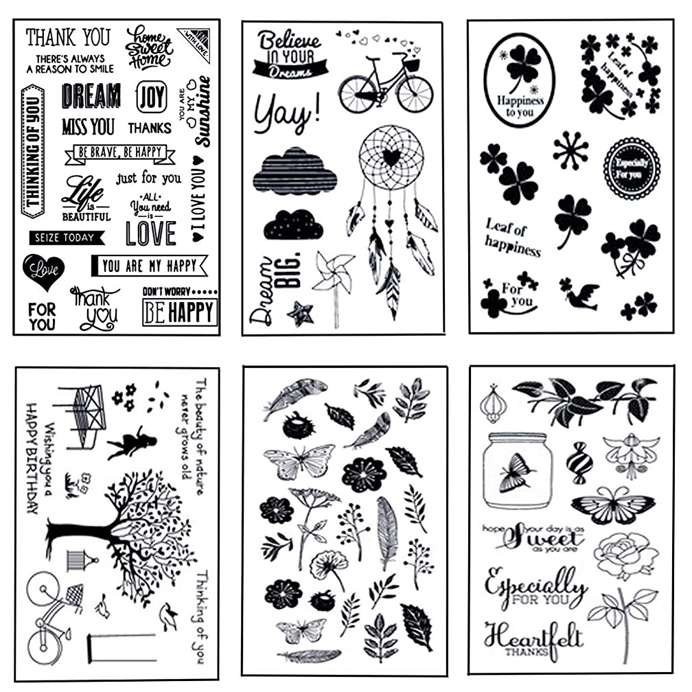 6 Sheets Different Theme Patterns Silicone Clear Stamps for Card Making and DIY Scrapbooking Album