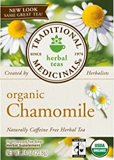 Traditional Medicinal's Organic Chamomile Tea, 16 Tea Bags per Box (Pack of 3 Boxes)