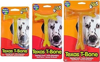 Fido (3pcs Multi Size Pack) Texas T-Bone Dental Dog Bones, Includes 1-Small, 1-Medium, and 1-Large