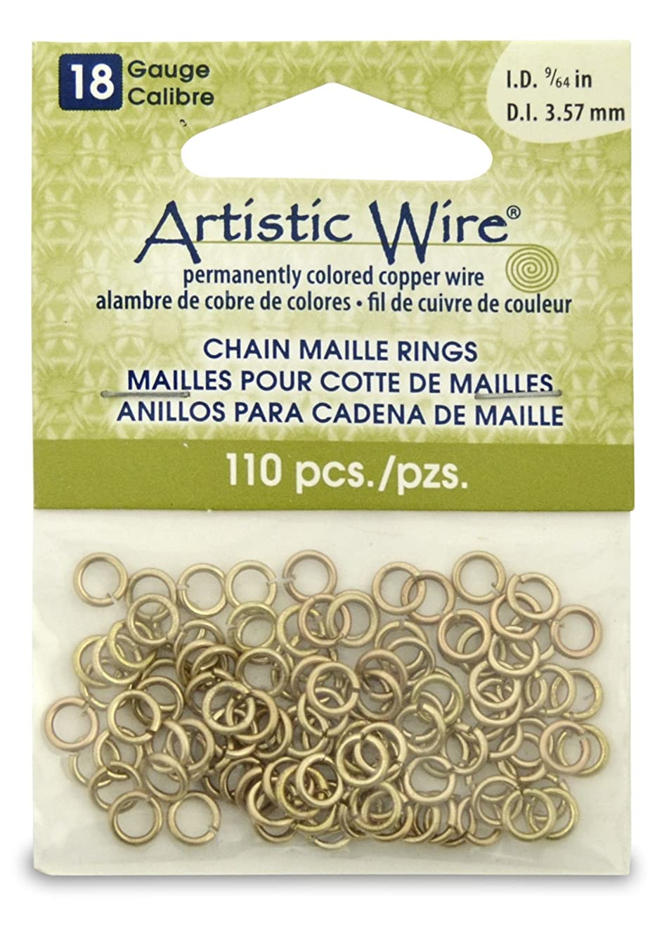 Artistic Wire 18-Gauge Non-Tarnish Brass Chain Maille Rings, 9/64-Inch Diameter, 110-Pieces