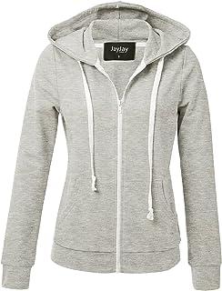 37c6089bf00b6 JayJay Women Athlete Stretchy Full Zip Jersey Fashion Running Hoodie Long  Sleeve Jacket