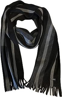 Michael Kors Mens Striped Raschel Scarf, Black/Grey