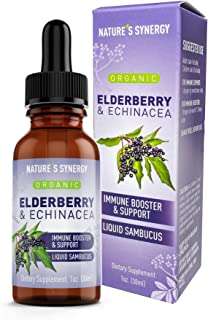 Sponsored Ad - Nature's Synergy Organic Elderberry & Echinacea Sugar Free Syrup, Liquid Sambucus Extract Adults Kids, Immu...