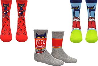 Pete the Cat Socks (Youth) (3 Pair) - Pete the Cat Girls & Boys Gifts Crew Socks - Fits Shoe Size: 9-3 (Kids)