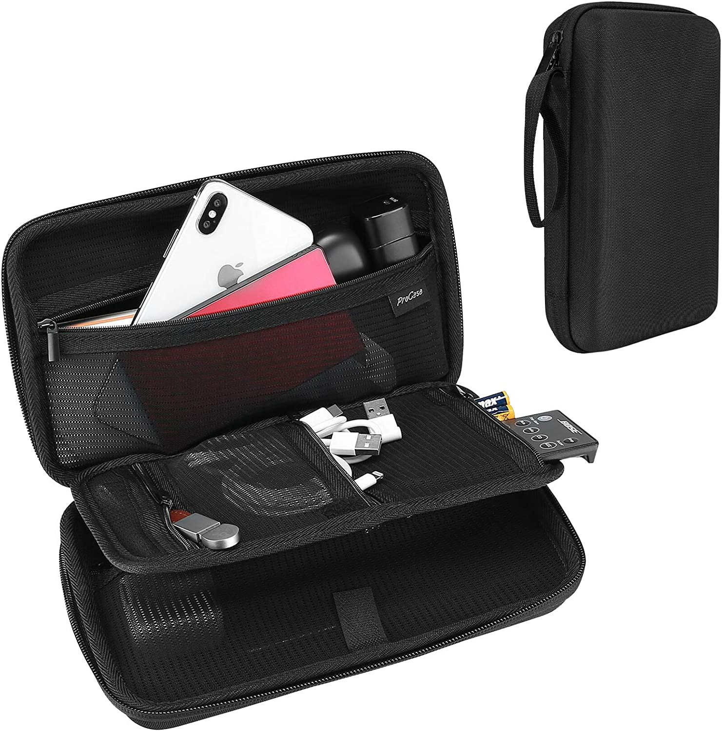ProCase Hard Travel Tech Organizer Case Bag for Electronics Accessories Charger Cord Portable External Hard Drive USB Cables Power Bank SD Memory Cards Earphone Flash Drive -Black