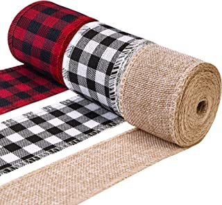 Acerich 3 Rolls Christmas Ribbon Wired, Black Red White Buffalo Plaid Ribbon, Vintage Burlap Ribbon for Gift Wrapping, Rib...