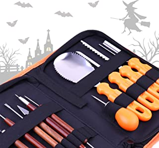 Vermo Halloween Pumpkin Carving Kit - Jack O Lanterns Sculpting Set with Saw, Scoop, Drill - Stainless Steel Decorating To...