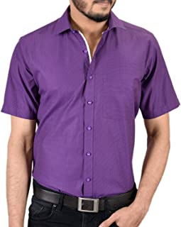 Zeal Men's Regular Fit Half Sleeve Cotton Casual Purple-Beige Formal Shirt
