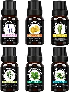 Top 6 100% Pure Premium Therapeutic Grade Oils -Lavender, Tea Tree, Eucalyptus, Lemongrass, Orange, Peppermint Essential Oils.