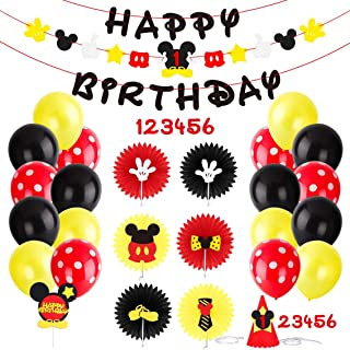 PANTIDE Mickey Mouse Party Supplies Clubhouse Birthday Decorations Kit - Mickey Mouse Birthday Banner Garland,Round Paper Fans,Colorful Balloons,Party Hat and Cake Topper for Kids Age 1-6
