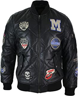 Mens Real Lether Quilted Puffer Varsity Baseball Bomber Letterman Jacket Badge Black s