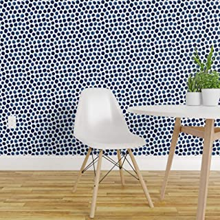 Spoonflower Pre-Pasted Removable Wallpaper, Blue Indigo Spots Polka Dot Circles Watercolor Dots Watercolour Print, Water-Activated Wallpaper, 24in x 108in Roll