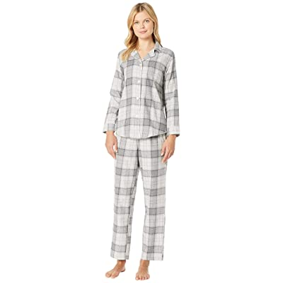 LAUREN Ralph Lauren Brushed Twill Long Sleeve Classic Notch Collar Pajama Set (Grey Plaid) Women