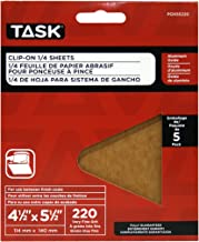 Task Tools POX55220 4-1/2-Inch by 5-1/2-Inch Clip-On 1/4-Sheet Sandpaper, 220 Grit, 5-Pack