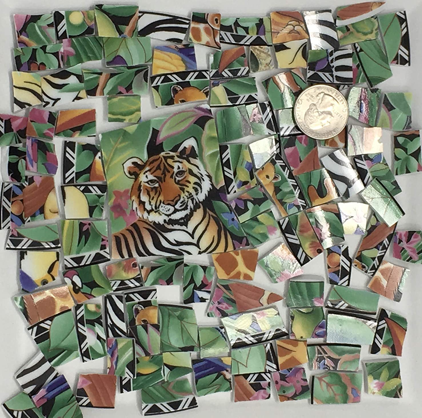 Mosaic Art & Craft Supply ~ Jungle Tiles with Large Tiger Feature Tile (A531)