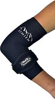 SIMIEN Elbow Brace + Sleeve Compression Combo (1-Count Each) - Reduces Inflammation & Pain for Tennis Elbow, Golfer's Elbow, Tendonitis - Complete Support - 88% Copper Sleeve - E-Book