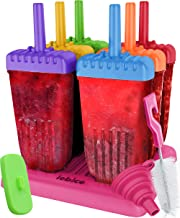 Lebice Popsicle Molds Set - BPA Free - 6 Ice Pop Makers + 1 Silicone Lid + Silicone Funnel + Cleaning Brush + Recipes E-bo...