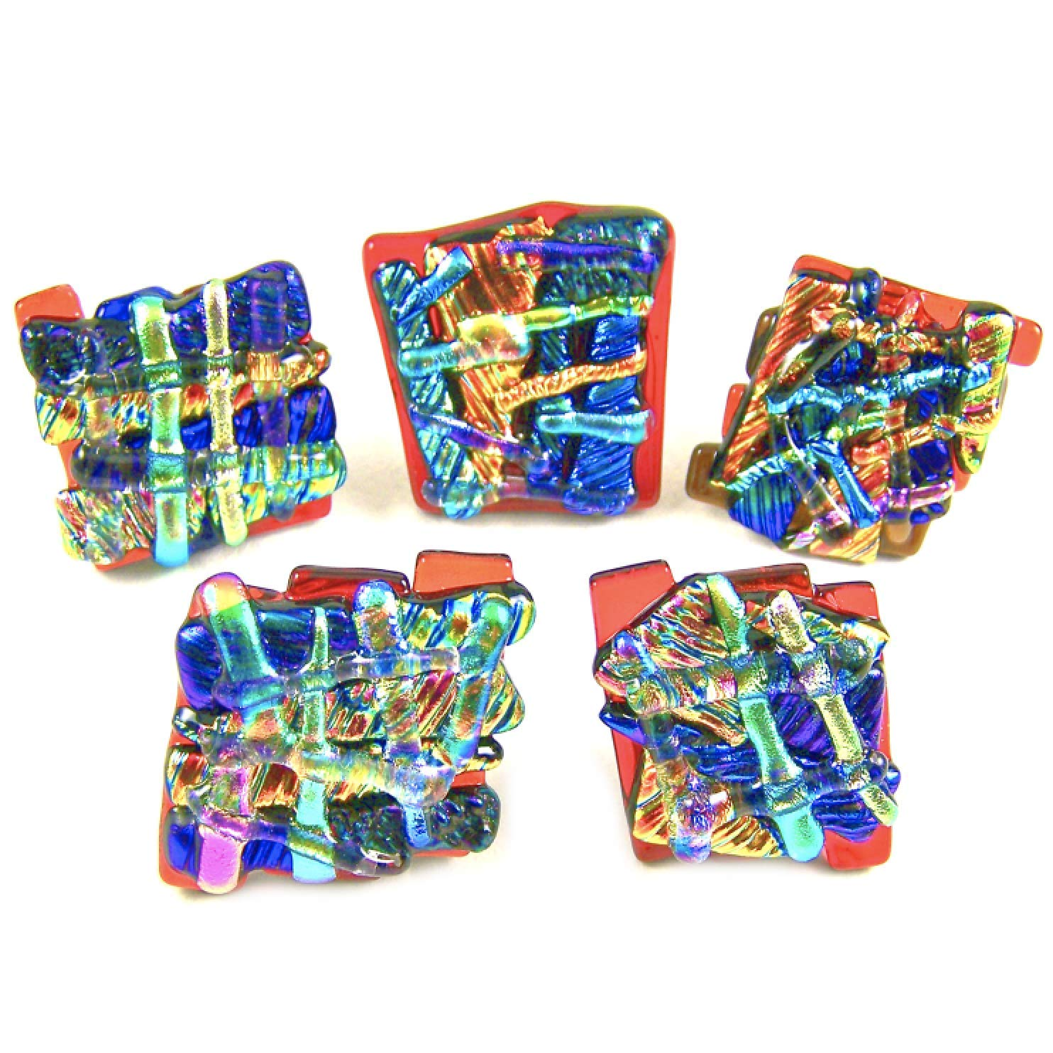 Dichroic Glass Knobs Store Custom Made Abstract Layered - WILD Mosaic Very popular
