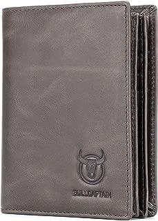 BULLCAPTAIN Genuine Leather Men Wallet RFID Blocking Bifold Wallets ID Window Credit Card Holder