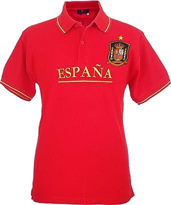 Pi2010 – Polo España Rojo, Bordado Delantero, Escudo Selección Española en Pecho, Bandera España en Cuello y Mangas, 100% algodón