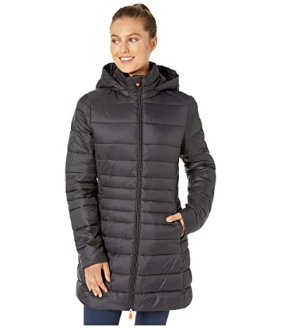 Save the Duck Giga 9 Puffer Coat with Removable Hoodie (Black) Women