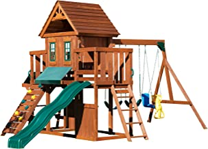 Winchester Wood Complete Play Set with Two Swings, Slide, Rock Wall, Picnic Table and Glider