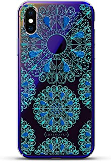 Ornament: Turquoise & Blue Mandalas with Apple Logo Circle | Luxendary Gradient Series Clear Ultra Thin Silicone Case for iPhone Xs/X (5.8
