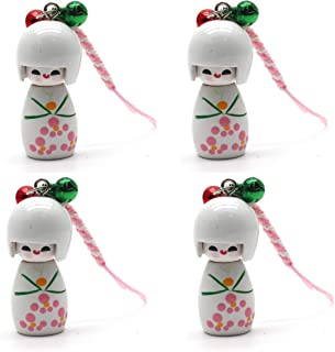 LDEXIN 4pcs Cartoon Japanese Doll Nylon String Pendant Backpack Phone Charm Strap Key Chain Hanger for Cell Phone Mp4