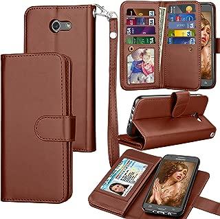 Tekcoo for Galaxy J3 Emerge / J3 Prime / J3 Luna Pro / J3 Mission / J3 Eclipse Wallet Case, Luxury PU Leather Credit Card Slots Holder Purse Carrying Folio Flip Cover for Samsung Amp Prime 2 - Brown