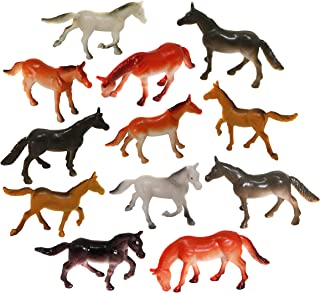 SN Incorp. Mini Plastic Horse Figures for Kids Party Favors Prizes and Cupcake Toppers - Pack of 24 Toy Horses