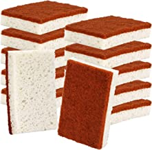 Natural Plant Based Scrub Sponge 12 Pack, Palm Fiber Scrubbing Sponge with Non Scratch Biodegradable Compostable Sponges,Durable No Smell Dishwashing Kitchen Scrubber