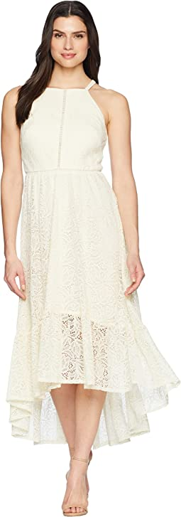 Lace Halter High-Low Dress with Trim Inset at Bodice
