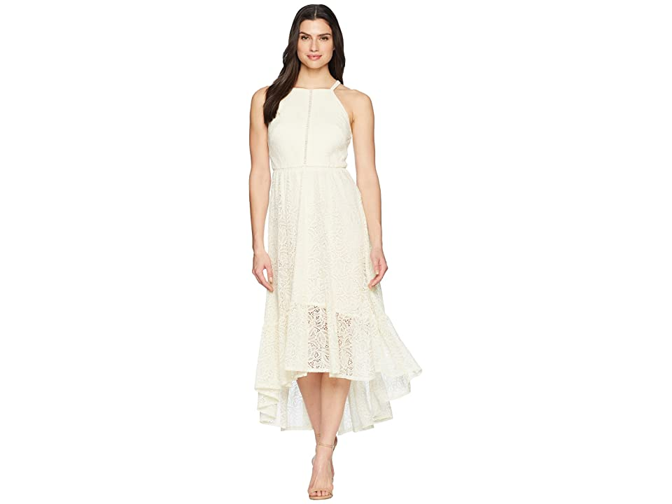Vince Camuto Lace Halter High-Low Dress with Trim Inset at Bodice (Ivory) Women