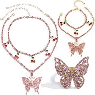 caiyao 3 Pcs Cubic Zircon Crystal Butterfly Red Cherry Pendant Adjustable Sparkly Rhinestone Chain Necklace Bracelet and C...