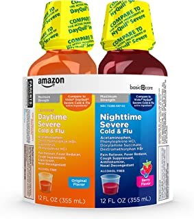 Amazon Basic Care Daytime & Nighttime Severe Cold & Flu Relief; Cold and Flu Medicine , 24 Fluid Ounces