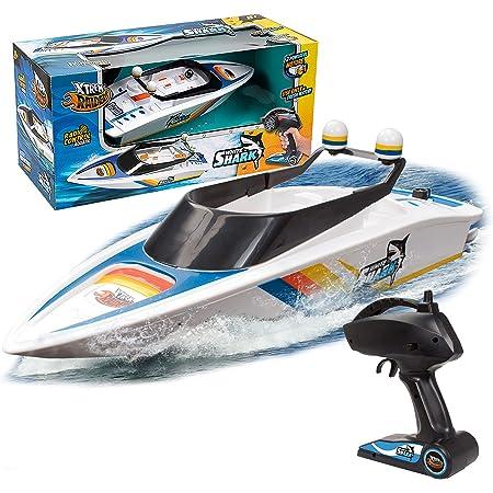 Xtrem Raiders - White Shark, Barco Teledirigido, Barcos Teledirigidos, Lancha Teledirigida Agua, Lanchas Teledirigidas, Juguetes para Niños, Barco Radiocontrol, Boat RC