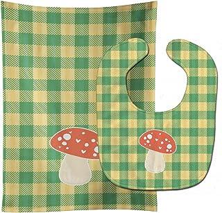 "Caroline's Treasures BB6938STBU Mushroom Baby Bib & Burp Cloth, 11 x 18"", multicolor"