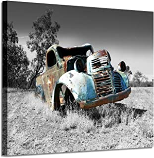 Car Picture Canvas Wall Art: Rusty Truck Painting Print Artwork for Living Room Office (24'' x 18'' x 1 Panel)