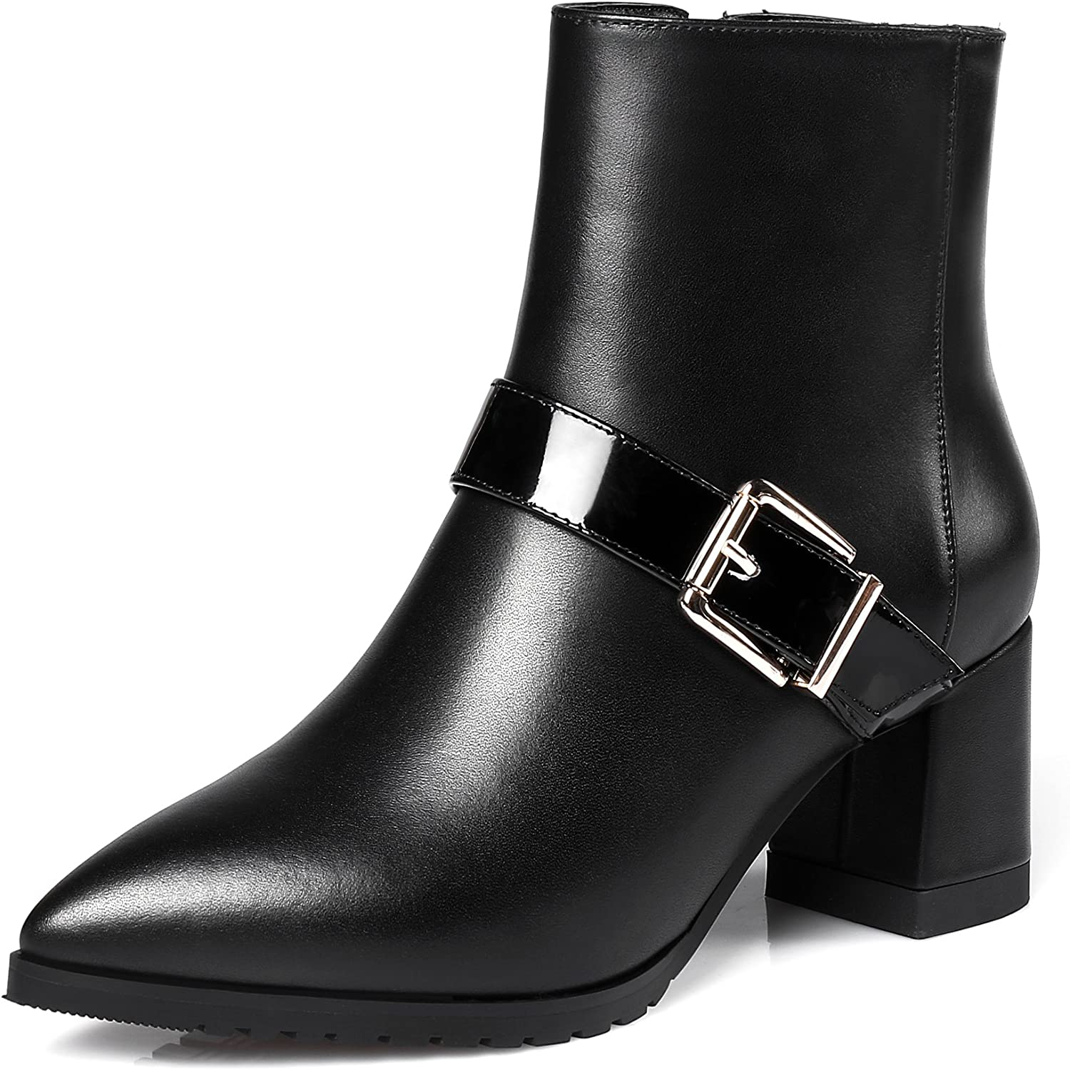 JIEEME Ladies Zip Pointed Toe Square Heel Genuine Leather Buckle Strap Women Boots Sexy High Heels Black Ankle Boots