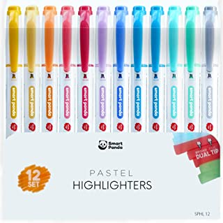 12 Surligneurs Pastels par SmartPanda – Double pointe, Épaisse et Fine – 12 Couleurs Assorties