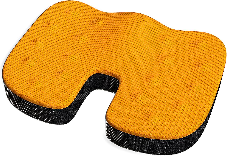 Memory Foam Seat Cushion for Office Chair, ODMJ Coccyx Seat Cushion for Tailbone Pain, Ergonomic Seat Cushion for Back Pain, Office Chair Cushion for Sciatica Discomfort with Non Slip Base Orange